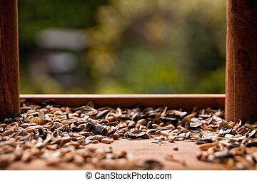 Wooden bird feeder - Close-up of wooden bird feeder