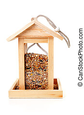 wooden bird feeder house - wooden bird feeder house with...