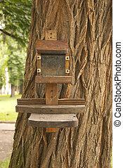 Wooden bird feeder on the tree