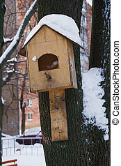 wooden Birdhouse hang on tree