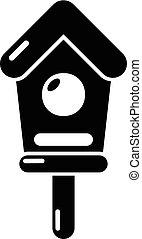 Wooden birdhouse icon , simple style