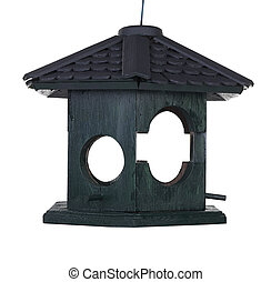 Wooden birdhouse isolated over white.