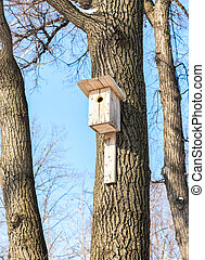 Wooden birdhouse on a high tree in the winter park
