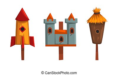 Wooden Birdhouses Collection, Nesting Boxes for Birds of Various Shapes Cartoon Vector Illustration