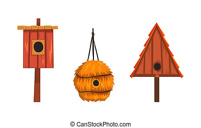 Wooden Birdhouses Collection, Nesting Boxes of Various Shapes Cartoon Vector Illustration