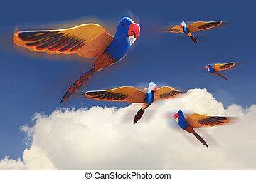Wooden birds on blue sky