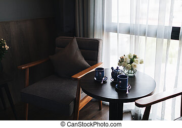 Wooden black and grey modern table and desk in bedroom