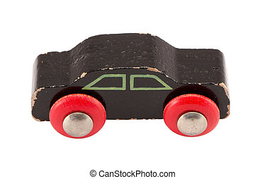 wooden black vintage toy car model isolated white