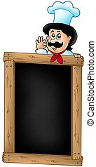 Wooden blackboard with cartoon chef