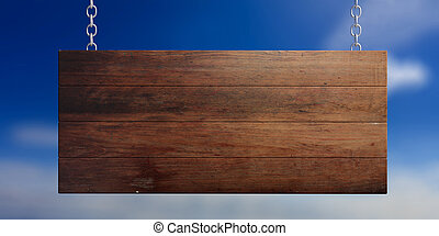 Wooden blank sign isolated on blue sky background. 3d illustration