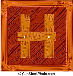 wooden block alphabet H letter