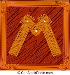 wooden block alphabet M letter