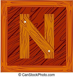 wooden block alphabet N letter