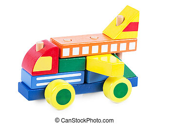 Wooden block car - A car made of wooden colorful blocks ...