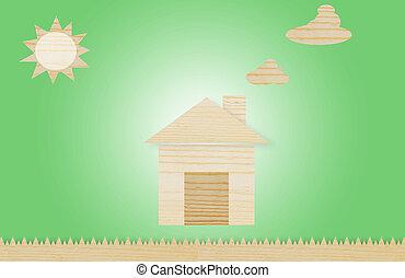 Wooden block houses