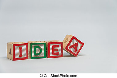 Wooden block IDEA word with white background in Horizontal view