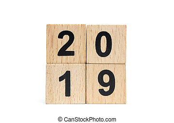 Wooden block Number 2019 isolated on white background