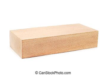 wooden block on white background