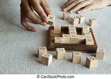 Wooden block OX game