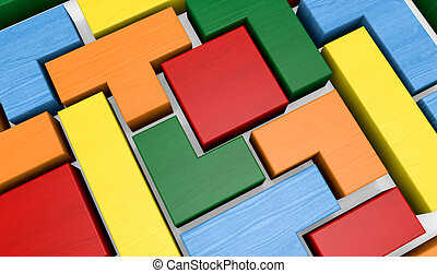 closeup of a wooden puzzle made with blocks of different shape and color (3d render)