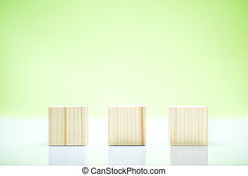 Wooden block toy on the table
