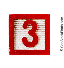 Wooden block with numeral 3 isolated