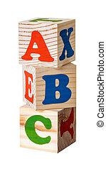Wooden blocks. Alphabet