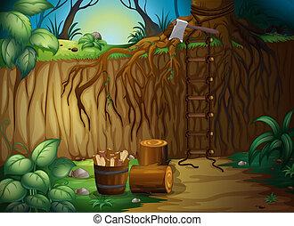 Wooden blocks and an axe