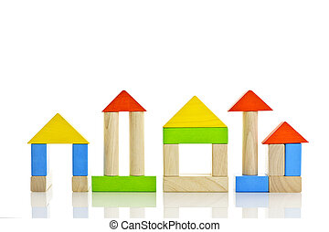 Wooden blocks buildings - Buildings constructed out of toy...