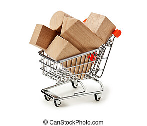wooden blocks for the construction in shopping trolley isolated on a white background