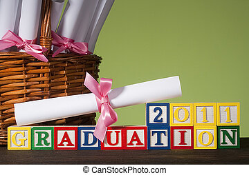 "Wooden blocks ""Graduation 2011"""