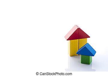 Wooden blocks house