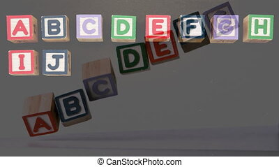 Wooden blocks in rows - Animation of colourful wooden blocks...