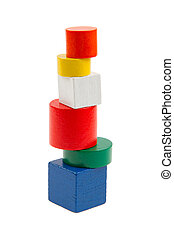 Wooden blocks in the different shapes