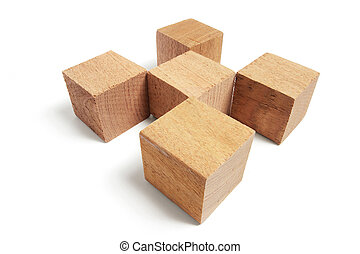 Wooden Blocks on Isolated White Background