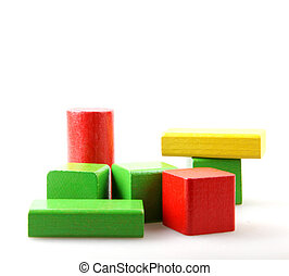 Wooden Blocks On White