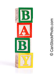 "Wooden Blocks spelling ""baby"""