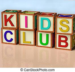 Blocks Spelling Kids Club As Symbol for Childrens Fun