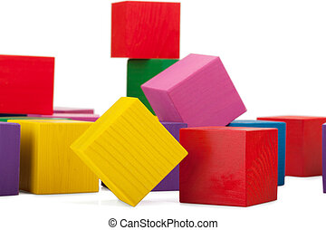 Wooden blocks, stack of colorful cubes, childrens toy isolated on white background