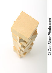 Wooden blocks tower on white background