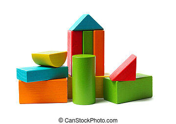Wooden blocks - Towers made from wooden blocks isolated on ...