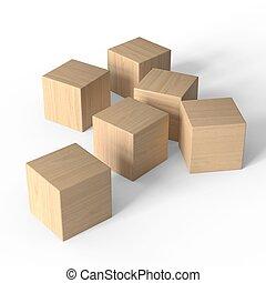 Wooden blocks. Toys mockup. Isolated on white background