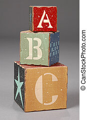 Wooden Blocks with ABC letters - ABC letters on wooden...