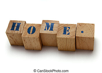 wooden blocks with home word on white background