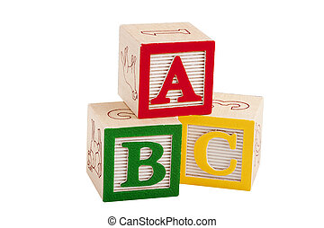 Wooden blocks with letters and numbers for the development ...