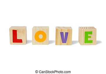 Wooden blocks with LOVE