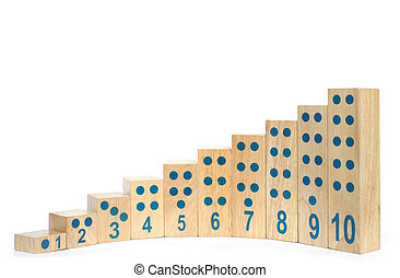 Wooden blocks with number isolated.
