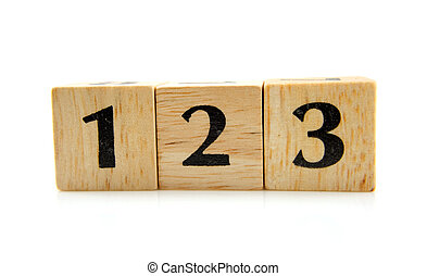 wooden blocks with numbers 1 2 3
