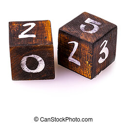 wooden blocks with numbers on white