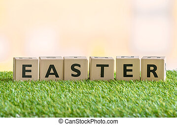 Wooden blocks with the word Easter